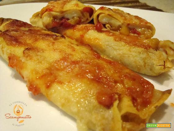 Crèpes ripiene di peperoni arrostiti e formaggio