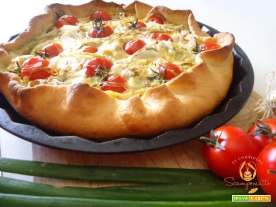 Quiche con pomodorini e cipollotti