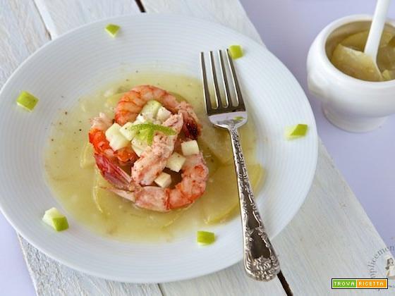 Gamberoni rossi al vapore in salsa di mela verde