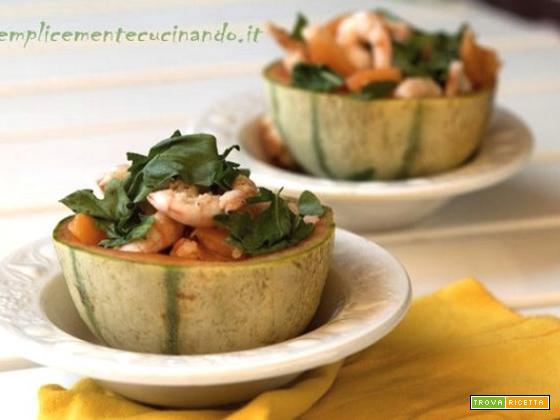 Melone gamberi e rughetta: buono e di effetto