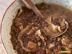 Pasta e lenticchie, polvere di zucca con la pentola GM