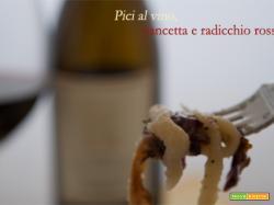 Pici al vino con pancetta e radicchio rosso