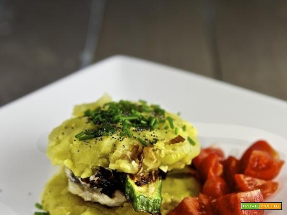 Rana pescatrice grigliata con patate e zucchine