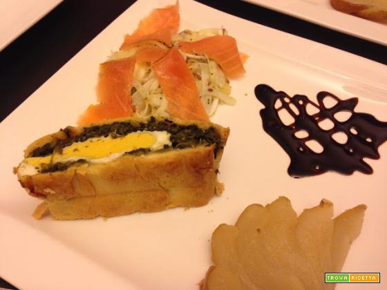 Senza Bimby, Finocchi all'Arancia con Salmone, tortino Spinaci e Uova, Crema di Balsamico e Pere al Vapore