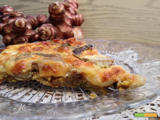 Frittata al forno con carciofi e topinambur