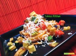 Linguine con verdure croccanti e pancetta affumicata