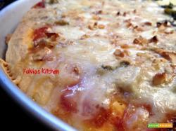 Pizza al gorgonzola e noci a lievitazione mista