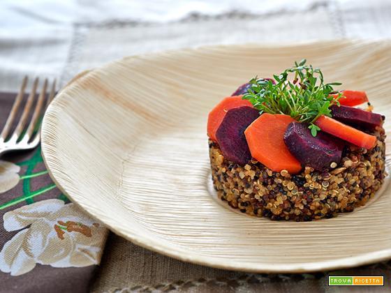 quinoa con carote bicolore e crescione