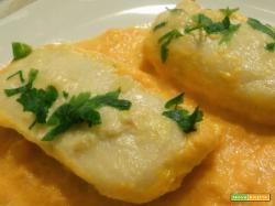 Cuori di merluzzo su vellutata di carote