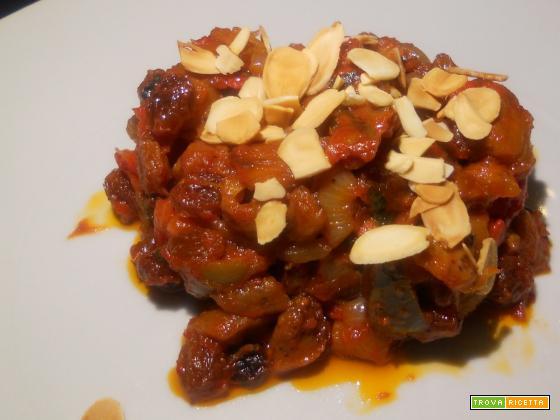 Caponatina siciliana con mandorle tostate