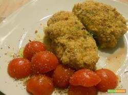 Involtini di pollo agli spinaci gratinati al pistacchio