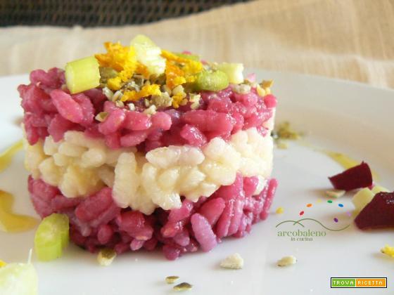 W il colore in cucina: Riso colorato con crema di Rape Rosse guarnito con un trito di Sedano, scorza di Arancia e Semi di Zucca