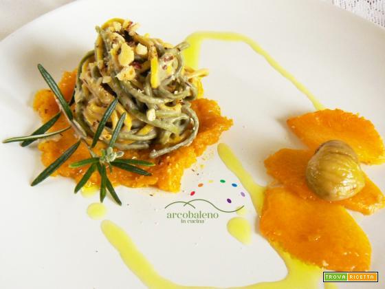 Tagliolini alla Spirulina e Curcuma con crema di Castagne e crema di Zucca Gialla al Rosmarino
