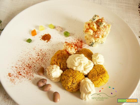 Polpettine di Fagioli Borlotti speziati con ciuffi di Mionese Vegana e Insalata Russa fatta in casa