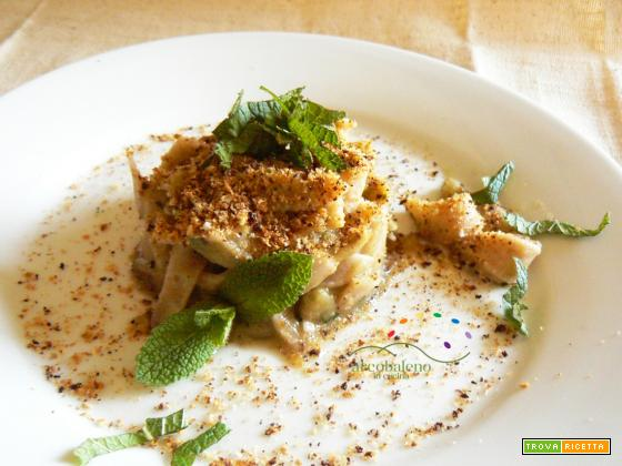 Maltagliati di Farro con crema di Melanzane alla Menta fresca e mollica tostata alla Liquerizia