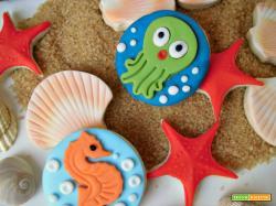 Biscotti decorati con abitanti del mare