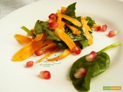 Insalatina di Batata e foglie di Spinaci con chicchi di Melograno e succo di Limone