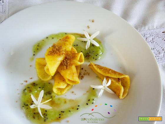 Merenda per grandi e piccini: fette di Mela alla piastra con purea di Kiwi e fiori di Gelsomino