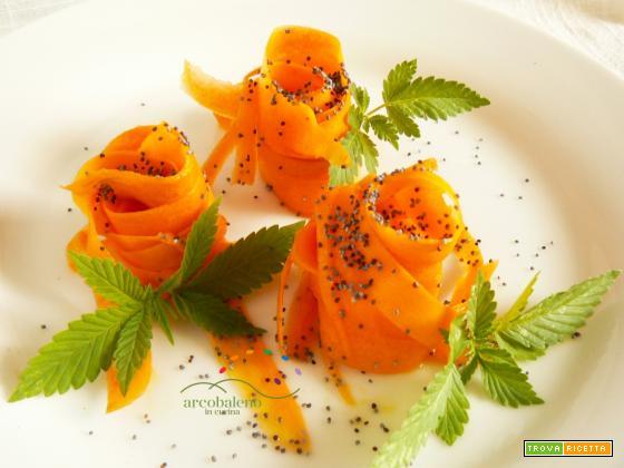 Insalatina di Carote e foglie di Canapa (Sativa) germogliata da semi di Canapa