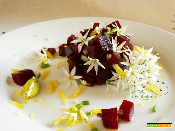 Tocchetti di Rape Rosse in insalata con fiori di Aglio Orsino e scorza di Limone