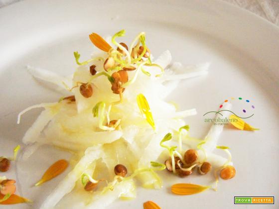 Insalatina di listarelline crude di Rapa Bianca impreziosita da germogli di Lenticchie Rosse