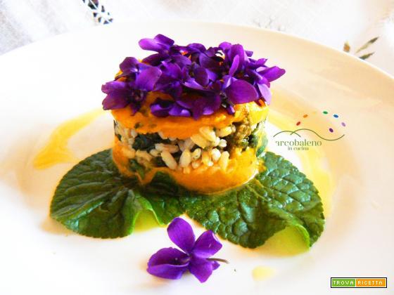 Il risotto di VIOLA con violette ,foglie di violette e crema di Carote