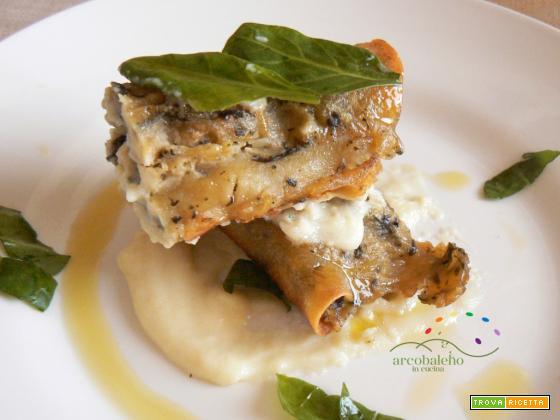 Cannelloncini GLUTEN FREE con ripieno di crema di Patate ed Erbe di Campo