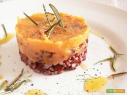 Primo piatto GLUTEN FREE, Riso Rosso con Crema di Zucca Gialla speziata al Rosmarino