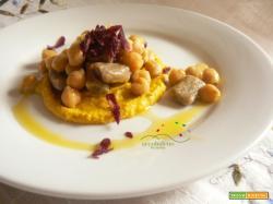 Primo piatto GLUTEN FREE: Gnocchi di Grano Saraceno con Ceci al profumo di Santoreggia Montana  e crema alla Curcuma