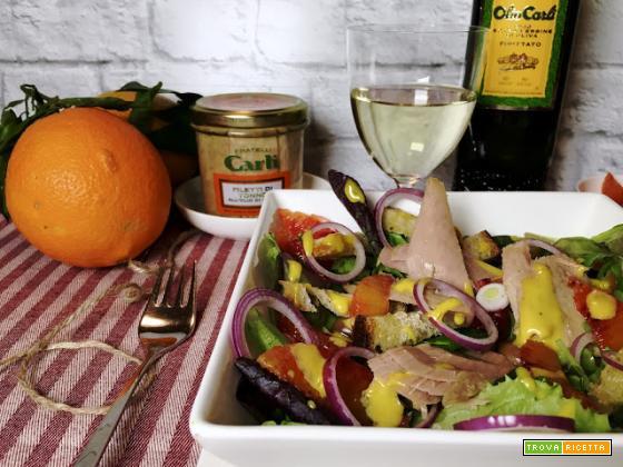 Tonno in insalata con maionese tiepida all'arancia rossa