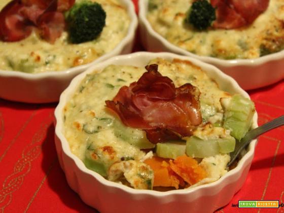 Gratin di patate, zucca e gambi di broccolo