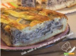 Torta salata al radicchio, noci, funghi champignon
