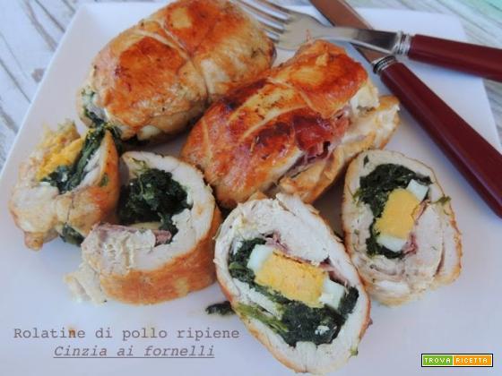 Rolatine di pollo con spinaci, prosciutto e uova sode