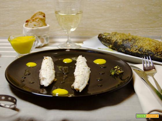 Branzino senza sale con maionese alla colatura di alici