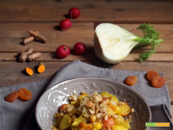 Essenza: Verdure saltate alla curcuma fresca con albicocche secche e briciole croccanti