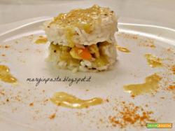 Rice burger con pollo e verdurine al curry