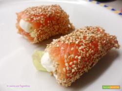 Involtini croccanti di salmone