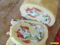 Rotolo salato con salmone, ricotta e zucchine