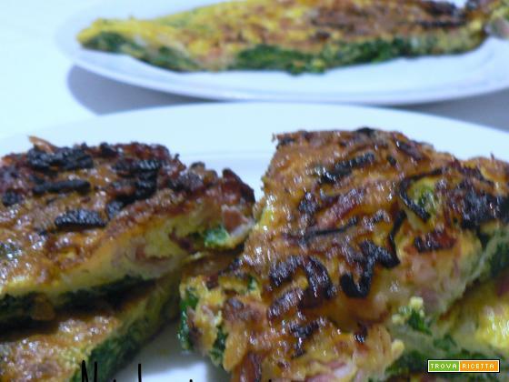 Frittata con spinaci e pancetta