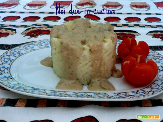 Riso alla parmigiana con salsa ai funghi