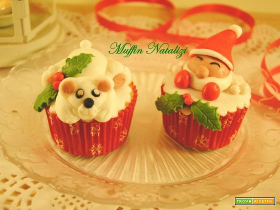 Muffin Natalizi decorati in pasta di zucchero