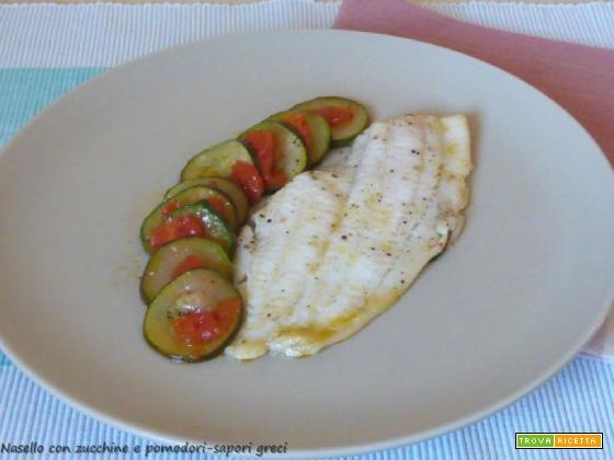 Nasello con zucchine e pomodori
