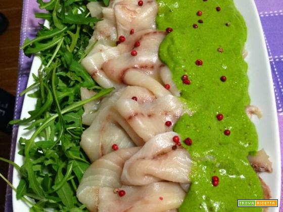 Carpaccio di pesce spada in salsa verde alla senape