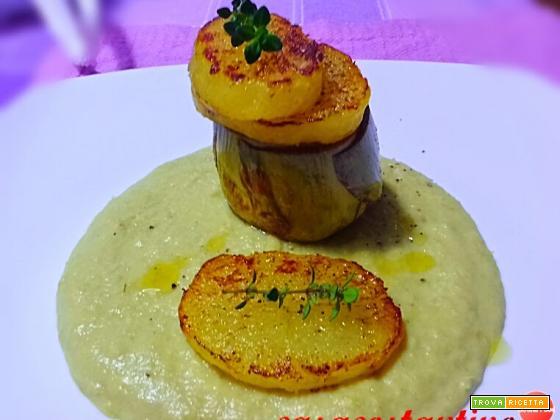 Carciofo arrosto con patate scottate su crema di carciofi