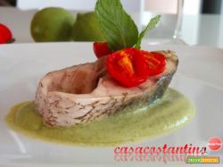 Ombrina su crema di zucchine