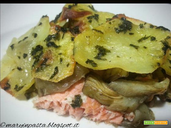 Millefoglie di salmone, carciofi e patate