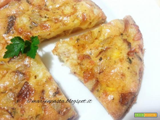 Frittata cotta in forno allo zafferano con patate, scalogno e formaggio Asiago