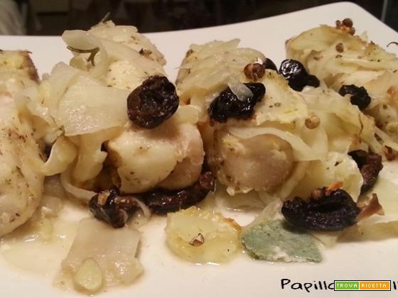 Cuori di merluzzo marinati con finocchi e olive nere