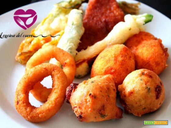 frittura mista,onion rings,sfizi,finger food,crocchè,alghe,mozzarella