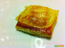 Saccottino di sfoglia con prosciutto cotto e formaggio